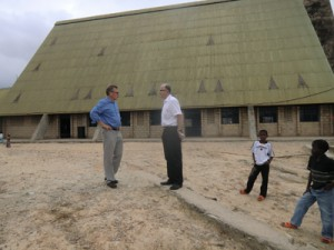 Lars-Ola and Lennart in front of the Baobab Church